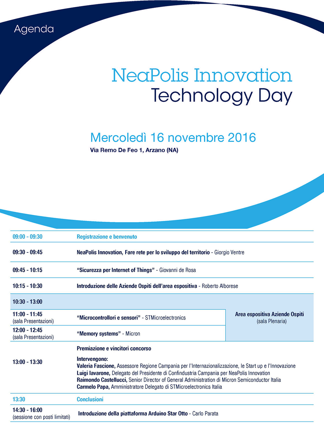 NeaPolis Innovation Technology Day 2016 Agenda